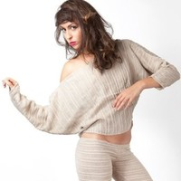 Sexy Off Shoulder Cocoon Shadow Stripe Top by KD Dance New York Made In USA