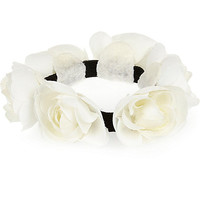 River Island Girls white rose bun hair band