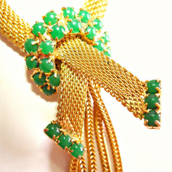 Mesh Necklace Earrings Demi Parure Green Cabochons Vintage Tassle Gold Tone