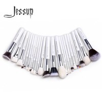 2017 Jessup brushes 25pcs White/Silver Professional Makeup Brushes Set Make up Brush Tools kit Foundation Powder Blushes T235