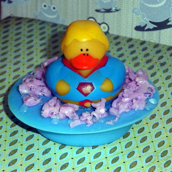 Super Hero and Villain Duck Pond Soap with Keepsake Toy Duck