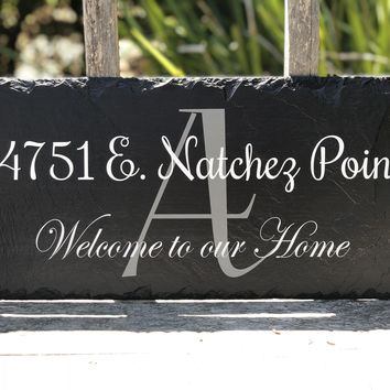 Customizable Slate Home Address House Sign - Welcome To Our Home - Handmade and Personalized