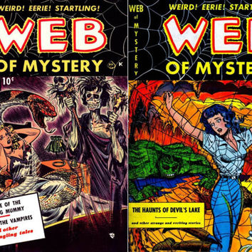 Ace Web of Mystery #1 or #8 custom comic storage decoupage short box, Pre-code Golden age classic horror 1951-1952