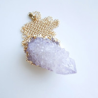Amethyst Spirit Quartz Druzy Necklace