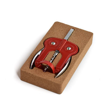 "BOJ ""Owl Style"" Double Lever Wing Corkscrew Red & Cork Packaging"