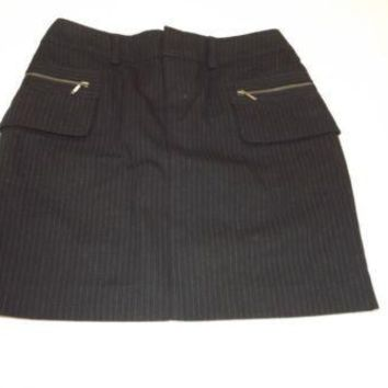 Banana Republic  Womens Black Gray Pinstripe Skirt Cargo Front Pockets Size 2