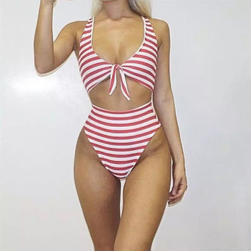 Front Tie Red and White Stripes One Piece Swimsuit