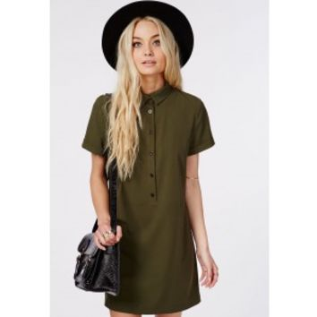 Missguided - Waisted Shirt Dress Khaki