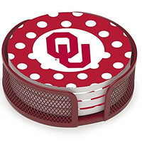 Thirstystone VUOK3-HA22 Stoneware Drink Coaster Set with Holder, University of Oklahoma Dots