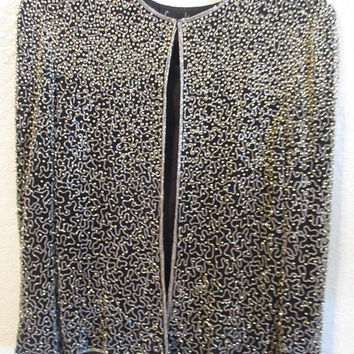 Vintage Laurence Kazar Heavily Beaded Jacket Blazer Black Silver Size PM Petite