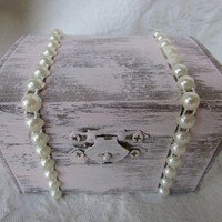 Beautiful Soft Blush Stained Rustic Nautical Wedding Ring BOx Chest with Pearl Trim
