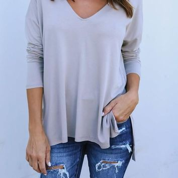 Grey Draped Irregular Side Slit V-neck Long Sleeve T-Shirt