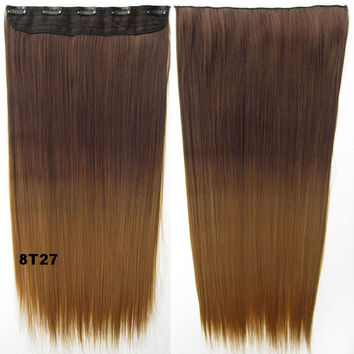 "Dip dye hairpieces New Fashion 24"" Women Clip in on gradient wig Bath & Beauty Hair Ombre Hair Extensions Two Tone Straight hair Gradient Hair Extension Colorful Hairpieces GS-666 8T27,1PCS"