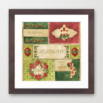 Celebrate Christmas Traditions Vintage Style Collage, Joy, love, family & friends Framed Art Print by Audrey Jeannes