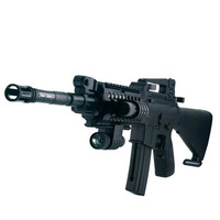 M16-09 6mm Single-shot Air Sport Plastic BB Gun Toy with Red Laser & LED Light (Black)