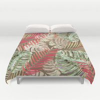 Jungle Tangle Red On Brown Duvet Cover by ALLY COXON