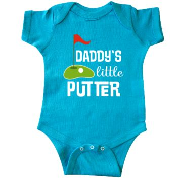 Future golfer Infant Creeper outfit with mini-golf course and Daddys little putter golf quote. $18.99 www.personalizedfamilytshirts.com