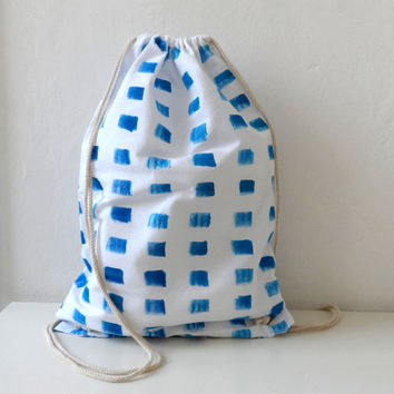 Handpainted  Cotton Tote, Backpack, Drawstring bag, white and blue, marine style