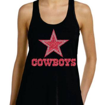 Cowboys flowy racer back tank top in PINK super glittery Dallas Texas , ladies will love the sparkles perfect gift for christmas women