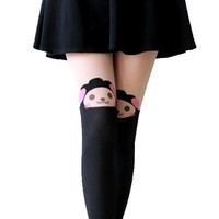 Adorable Sheep Alpaca Lamb Print Mock Thigh High Pantyhose Tights in Black | DOTOLY