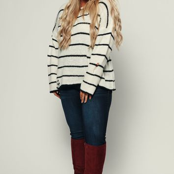Curvy Saucy Striped Sweater (Ivory)