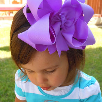 "EXTRA LARGE 6""  Double Layered  Boutique Hair Bow made with Yards and Yards of Grosgrain Ribbon. CHOOSE Your Color(s)"