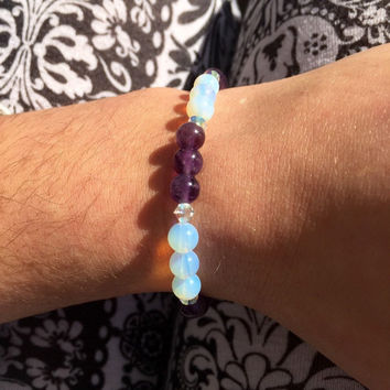 6mm Amethyst Opal Quartz gemstone beaded elastic bracelet yoga meditation energy healing bohemian