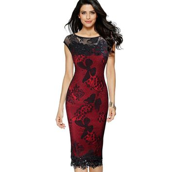 Womens Dresses Sexy Sequins Crochet Butterfly Lace Party Bodycon  Dress 211