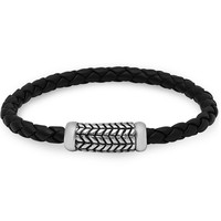 Braided Black Leather Bracelet with a Magnetic Stainless Steel Clasp ( 8 3/4 inches)