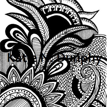 "Henna Mehndi Drawing 8""x10"" Print Original Design by Katie N. Dunphy"