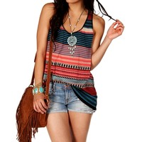 Multi-Color Striped Tank Top Sweater