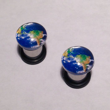 Earth Picture Plugs & Earrings 14g-00g
