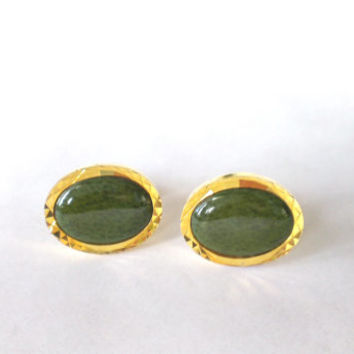 Vintage Gold Plated  Cufflinks  ,Monarch, Mens Cufflinks, Green Moss Agate,1950s - 1960s, Mens Jewerly, Fashion Accessory for Him,