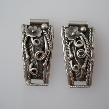 Native American Watch Band Tips Sterling Silver 925 Ladies Unmarked Flower Rope Design