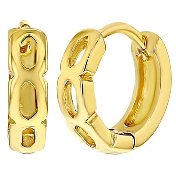 Gold Tone Perforated Huggie Small Hoop Earrings for Children 9mm