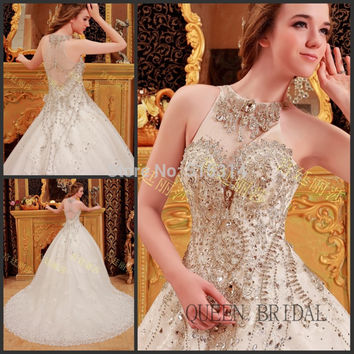 High neck ball gown long train bling diamond chapel train luxury crystals wedding dress