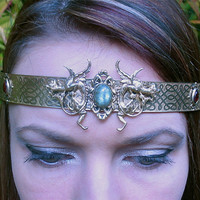 Dragon Protectors on Brass Band Crown Circlet Tiara Medieval,Warrior,Fantesy
