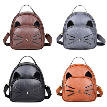 New Cute Kitty Cat Ears Whiskers Faux Leather Backpack Women Girls Bags Purses