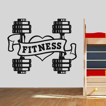 I love Fitness Wall Decal, Dumbbell Fitness Wall Sticker, Garage Gym Wall Decor, Crossfit Motivation Wall Decal, Gym Logo Wall Mural se091