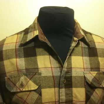 Vintage Sears Brown Checkered Pendelton Style Large Mens Long Sleeve Shirt