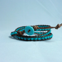 Turquoise on Distressed leather multi wrap bracelet