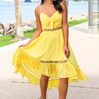 Yellow High Low Dress with Tie Front