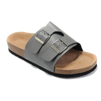 2017 Hot Sale Birkenstock Summer Fashion Leather Cork Flats Beach Lovers Slippers Casual Sandals For Women Men black Couples Slippers size 36-45