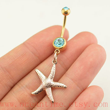 starfish Belly Button Rings,gold starfish belly button jewelry,starfish Navel Jewelry,friendship belly button jewelry