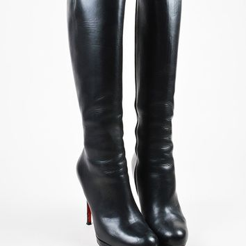 AUGUAU Christian Louboutin Black Leather  New Simple Botta 120  Knee High Boots