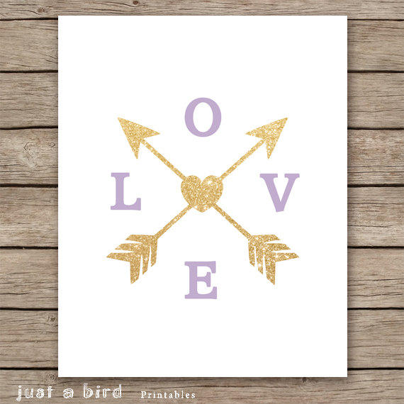 Gold Arrow Wall Decor : Lavender wall art gold glitter love from