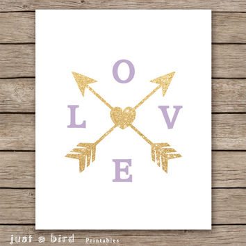 Lavender wall art,  gold glitter love arrow print, lavender nursery decor, INSTANT DOWNLOAD