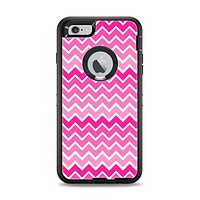 The Pink & White Ombre Chevron V2 Pattern Apple iPhone 6 Plus Otterbox Defender Case Skin Set