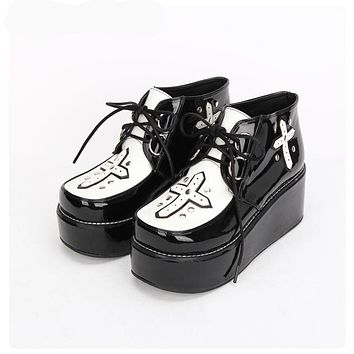 Goth Cross Platform High Tops