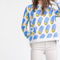 White Simpson Pattern Print Sweater